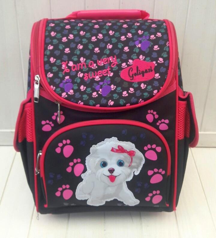 Черный каркасный рюкзак с собачкой для девочки 31*26*15 см