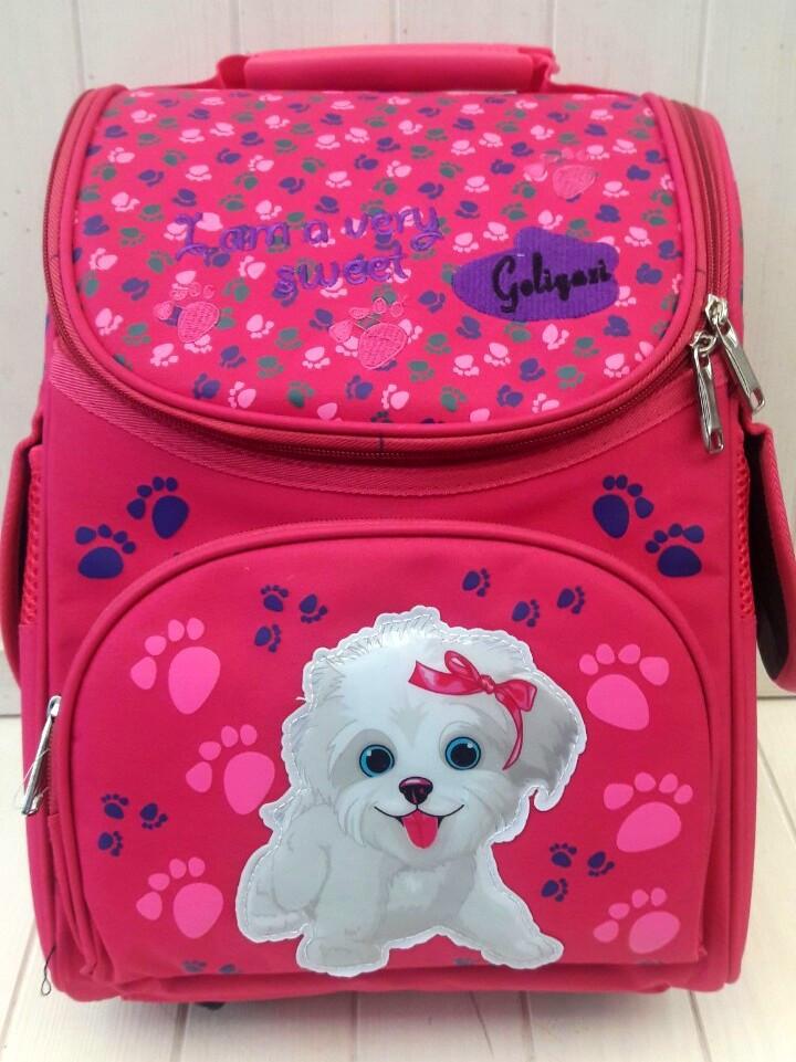 Малиновый школьный каркасный ранец с собачкой для девочки 31*26*15 см