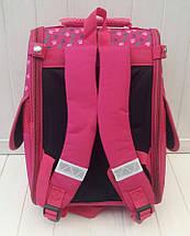 Малиновый школьный каркасный ранец с собачкой для девочки 31*26*15 см, фото 2