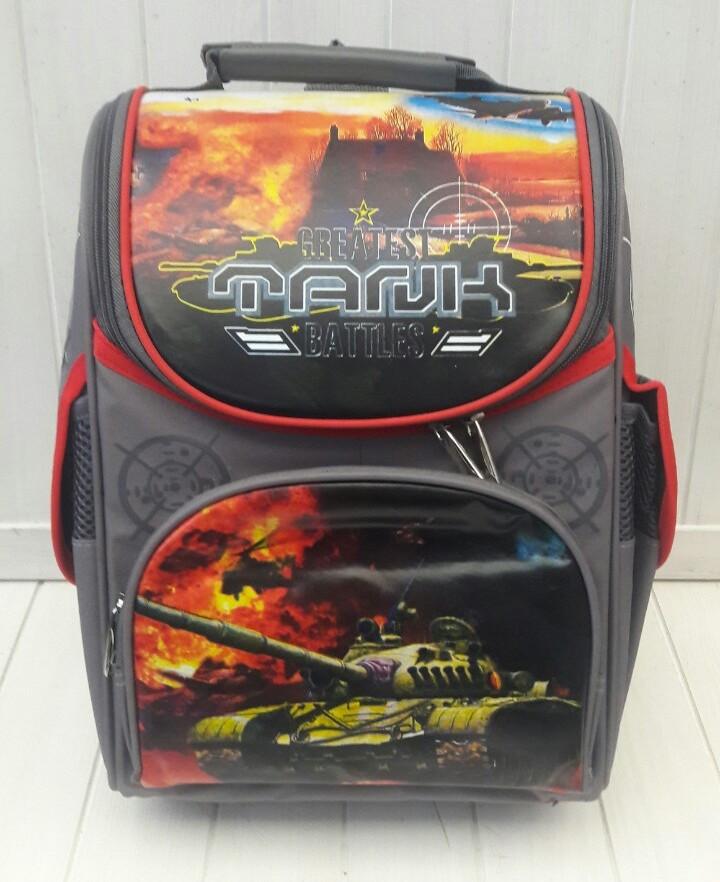 Школьный ортопедический темно-серый рюкзак Greatest Tank Battles для мальчика 34*27*15 см