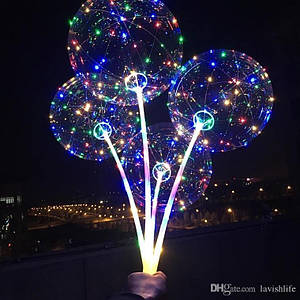 Воздушные шарики бобо с подсветкой и цветной ручкой Bobo Led 150746