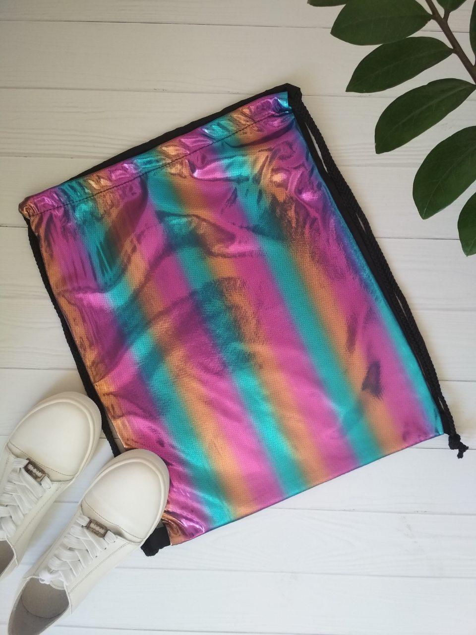 Цветная сумка с затяжкой для сменной обуви 42*33 см