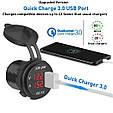 Зарядное USB Quick Charge 3.0 + Вольтметр / БЫСТРАЯ ЗАРЯДКА QC 3.0 / Адаптер питания - врезная розетка USB, фото 3