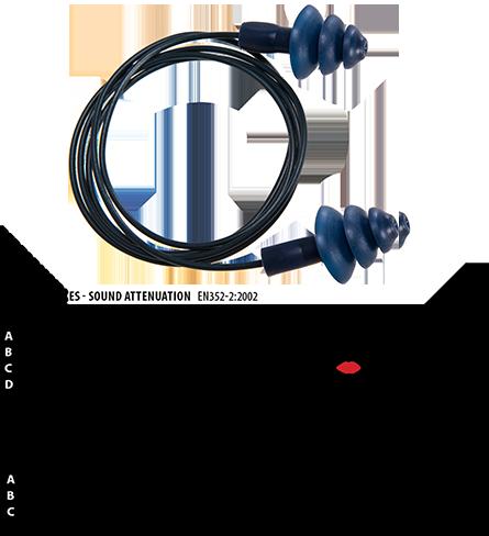 Детектируемые беруши с кордом из термопластичной резины (50 пар) EP07