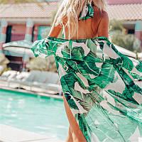 Большой 50 размер. Пляжная женская накидка с пальмовыми листьями, белый халатик для пляжа с зелеными листьями