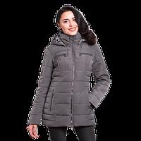 Женская куртка осенняя Finn Flare A 16-11028F с капюшоном серая