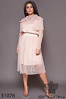 Платье с сеткой бежевое большой размер