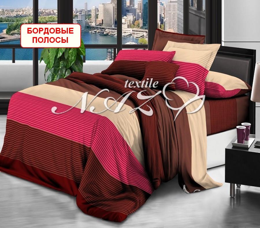 Семейный набор постельного белья - Бордовые полосы