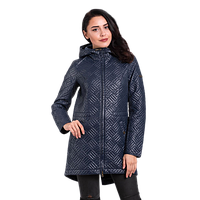 Женская осенняя куртка Finn Flare B 16-12016 длинная темно-синяя