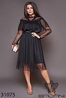 Платье с сеткой чёрное большой размер