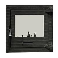 """Дверь чугунная топочная стекло черн. (М) (84) 40/40 35/35 28/28  """"Замкова """""""