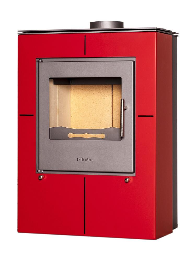 Отопительная печь-камин длительного горения FLAMINGO EVENES (красный)