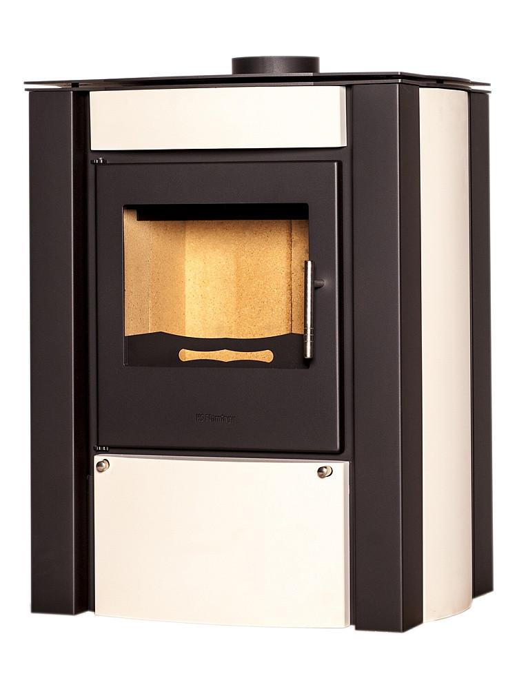 Отопительная печь-камин длительного горения FLAMINGO AMOS (кремовый)