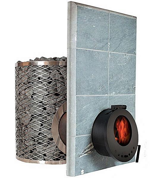 Дровяная печь-каменка IKI SL со стеклянной дверкой, объем парилки 15-30 м.куб, вес камней 300 кг