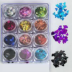 Набор декора для маникюра GC-08 мерцающие микимаусы 12 цветов