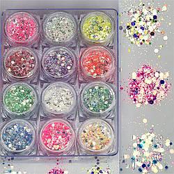 Набор декора для маникюра GC-10 мерцающие шестиугольники и кружочки 12 цветов