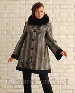 Пальто зимнее твид с вышивкой  рр 48 - 58