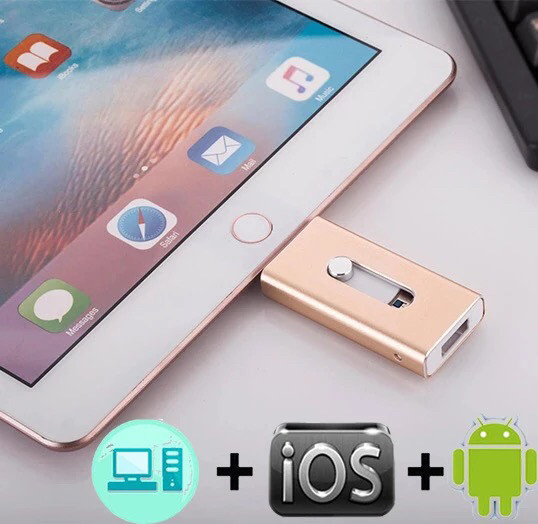 Флешка  IPad IPhone iOSFlash  USB Drive 128GB для Iphone, gold