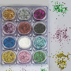 Набор декора для маникюра GC-13 мерцающие кружочки 12 цветов