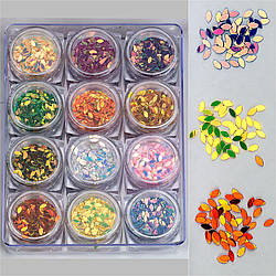 Набор декора для маникюра GC-14 мерцающие листики 12 цветов