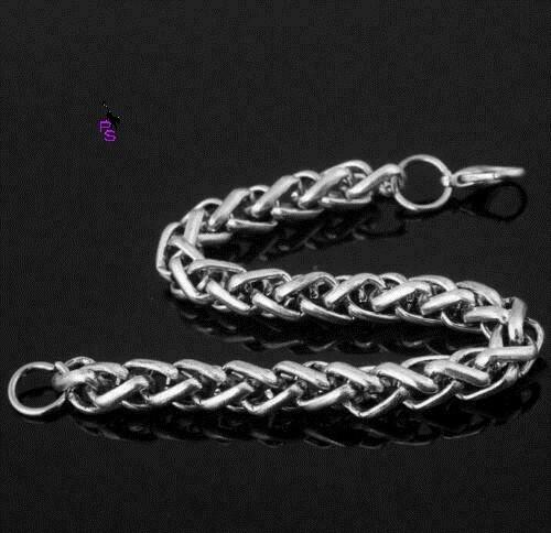 Красивый хромовый браслет на руку с эльфийским плетением 16112