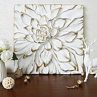 Панно объемный Цветок Пион белый с золотом Гранд Презент КPД 914 Белый золото
