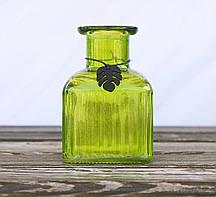 Ваза Монстера зеленая h12см лакированное стекло Гранд Презент 1016385-1 куб зел.