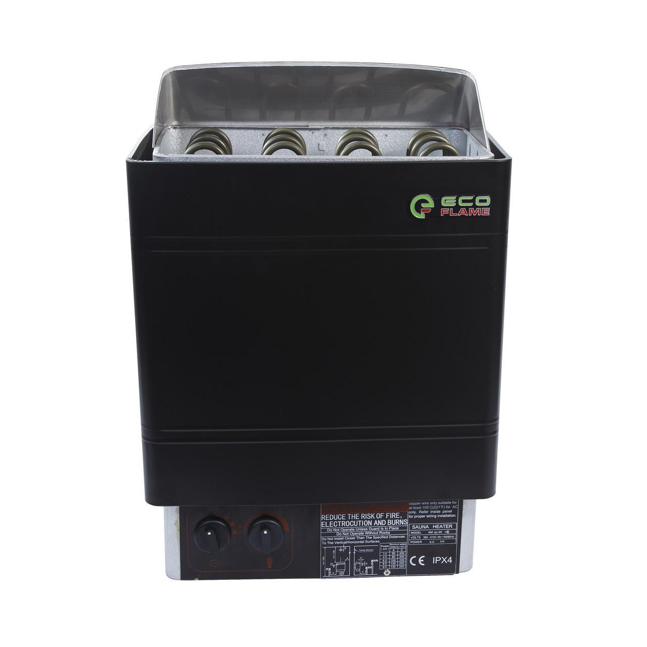 Настенная электрокаменка EcoFlame AMC-60 STJ 6 кВт, объем парилки 5-9 м.куб, вес камней 18 кг