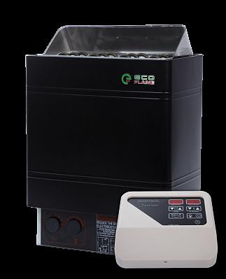 Настенная электрокаменка с пультом для сауны и бани EcoFlame AMC 60-D 6 кВт загрузка камней до 18 кг