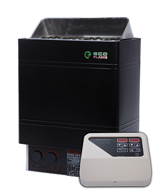 Настенная электрокаменка для сауны и бани EcoFlame AMC 90-D 9 кВт с пультом вместимость камней 20 кг