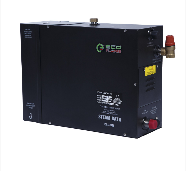 Парогенератор EcoFlame KSA45 4.5 кВт (для хамама 3.5-5.5 м.куб) пульт, клапан, форсунка в комплекте