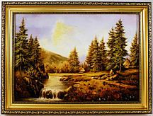 Пейзаж Река/горы/домики в лесу П-155 Гранд Презент 30*40