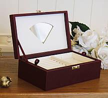 Шкатулка для ювелирных украшений 22*13,6*7,5 Гранд Презент 603426 бордовая