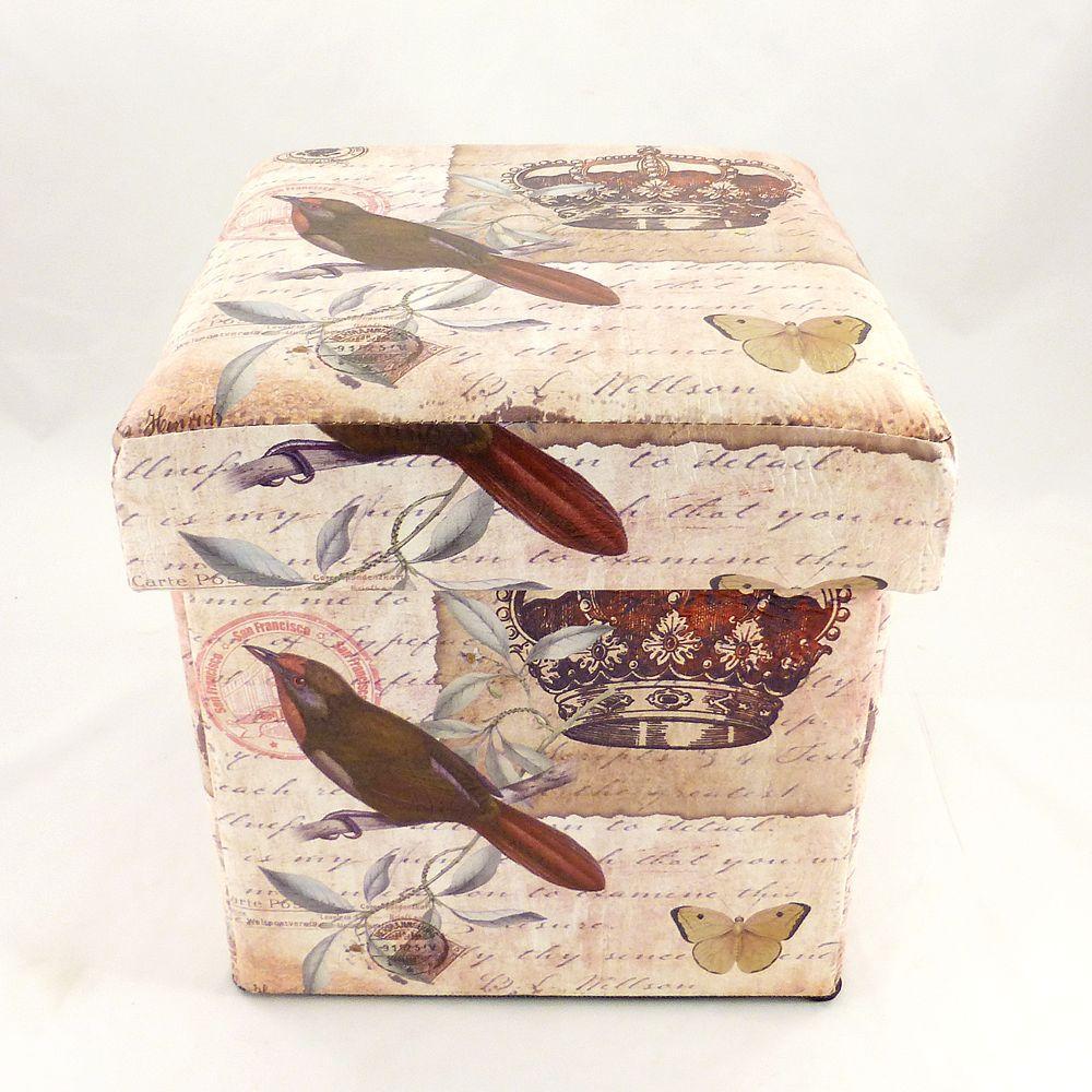 Пуфик банкетка с ящиком в стиле Шебби Шик складной SH31456-443