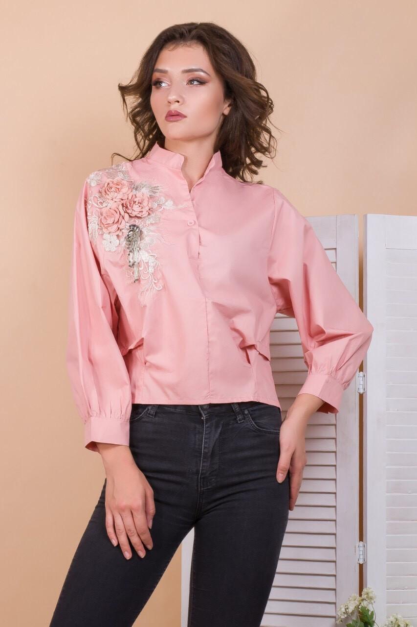 Молодежная рубашка с аппликацией 44-46 (в расцветках)