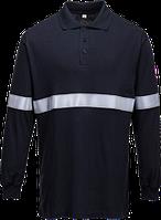 Огнестойкая антистатическая футболка-поло с длинными рукавами и светоотражающей лентой FR03