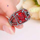 Роскошное кольцо перстень с красным камнем, фото 2