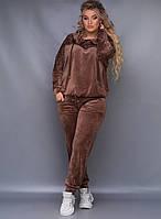 Шикарный велюровый женский костюм батал