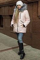 Зимняя женская куртка-пуховик с эко-мехом чернобурки  рр 44-54