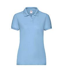 Женская футболка поло голубая 212-YT