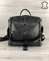 Сумка-рюкзак женская оливковая кожаная трансформер через плечо с черным K4578, фото 1