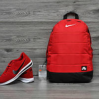 Яркий, стильный рюкзак найк аир, Nike Air. Отличное качество. Красный с черным, фото 1
