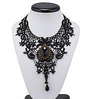 Ожерелье с кружева черное Готика/бижутерия/цвет цепочки черный