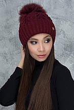 Женская шапка «Анжелика» с отворотом с Большим цветным песцовым помпоном