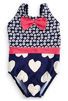 Элегантный мини-купальник для малышек, красивый принт, с пояском/бантиком, на подкладке