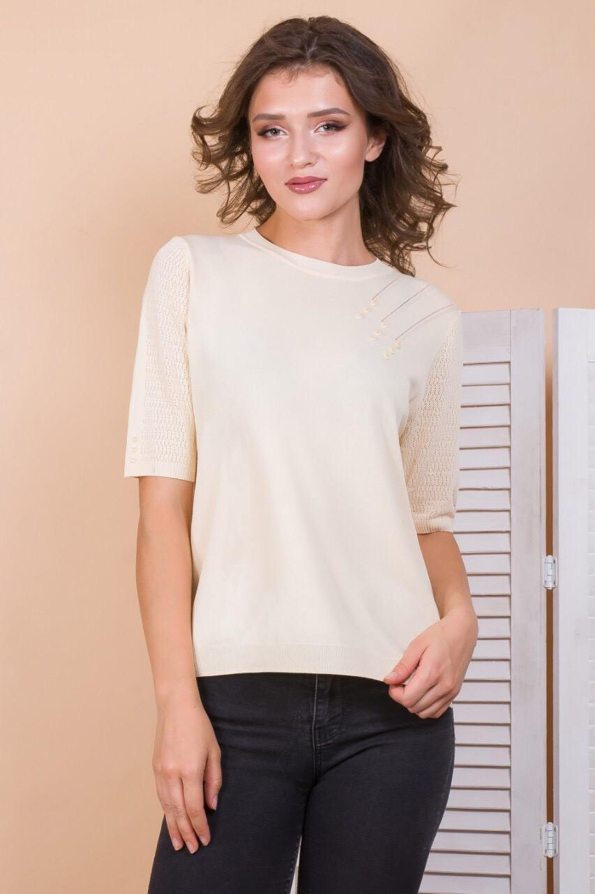 Жіноча трикотажна футболка 44-48 (в кольорах)