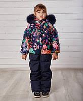 Красивый зимний детский комплект на девочку с натуральным мехом, ТМ MANIFIK