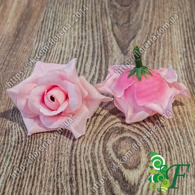 Головка роз с острыми листиками розовый за 12 шт