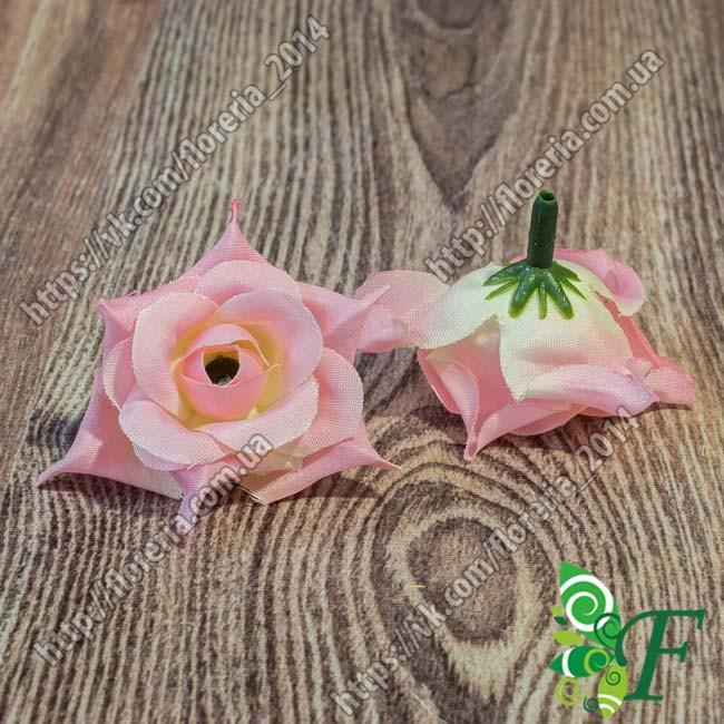 Головка роз с острыми листиками светло розовый за 12 шт