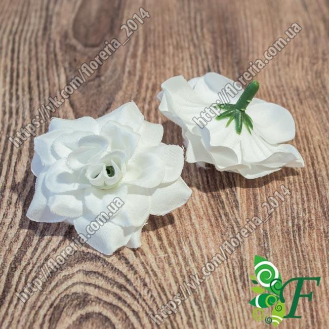 Головка розы бархатная белый за 5 штук